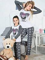 Набор пижам Мама и дочка (Белый, пингвины)
