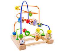 """Деревянная игрушка Пальчиковый лабиринт №3 с бусинками в картонной коробке ТМ """"Игрушки из дерева"""" Д072"""