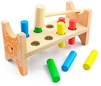 """Деревянная игрушка-стучалка Гвозди-перевертыши с молоточком ТМ """"Игрушки из дерева"""" Д002"""