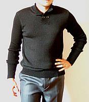 Вязаный мужской свитер черного цвета с воротником поло