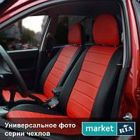 Чехлы для Chevrolet Lacetti, Черный + Красный цвет, Экокожа