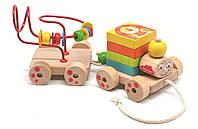 """Деревянный игровой набор Паровозик """"Чух"""" для детей от 1 года (Размер: 30 x 6.5 x 17.5 см) ТМ """"Бомик"""" 811"""