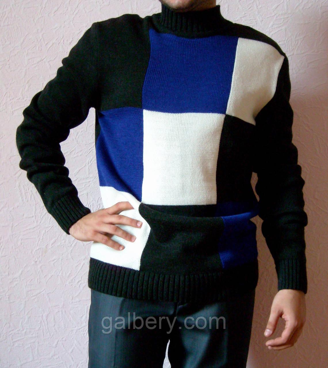 Вязаный мужской свитер с круглым воротником