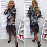 Платье 48+ из гипюра с подкладкой и сетки,  арт 2584-504