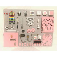 Настольная игра бизиборд Woody Board 1-27 pink 60 х 80 см