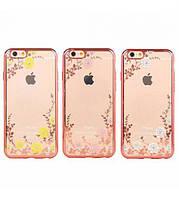 """Прозрачный чехол с цветами и стразами для Apple iPhone 6/6s plus (5.5"""") с глянцевым бампером"""