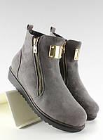 03-12 Серые женские ботинки замшевые с золотой пластинкой g-32 37,38,39,40,41