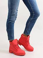 03-23 Красные замечательные утепленные женские ботинки в стиле Тимберленд oms-99 36