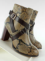 11-23 Коричневые женские ботильоны на высоком каблуке под змею A993 38,37,36,35