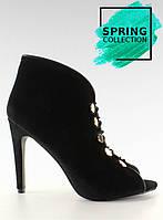 Черные Вельветовые женские туфли-лодочки с открытым носком 1129 40,38,37,36,35