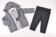 Костюм для мальчика (цв.темно-синий) кофта+футболка+брюки NoyNoy 205896 Рост:86,98