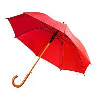 Зонт-трость полуавтомат, с деревянной изогнутой ручкой, красный, от 10 шт.