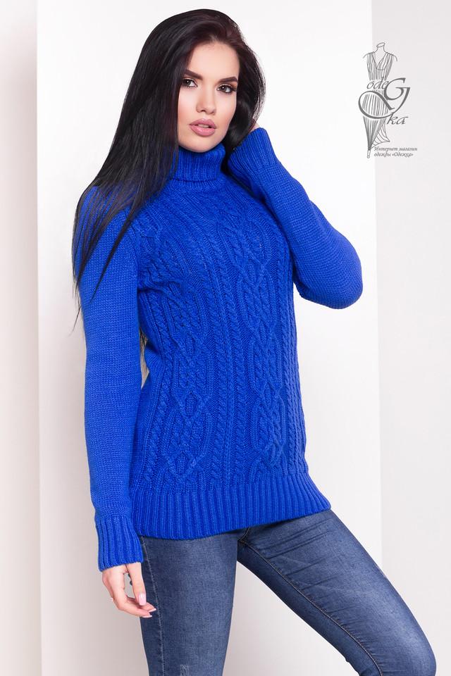 Цвет электрик Женского зимнего свитера теплого Дара