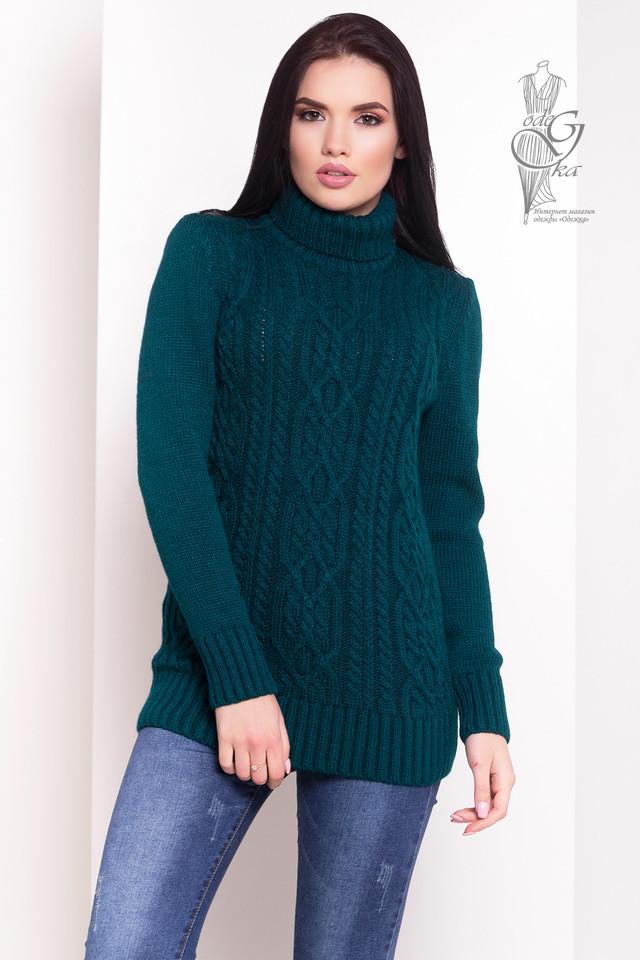 Цвет изумруд Женского зимнего свитера теплого Дара