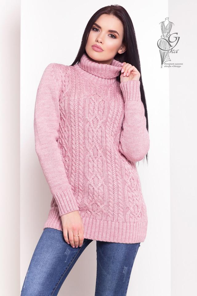 Лиловый цвет Женского зимнего свитера теплого Дара