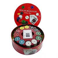 Покерный набор, набор для покера на 240 фишек в металлической коробке