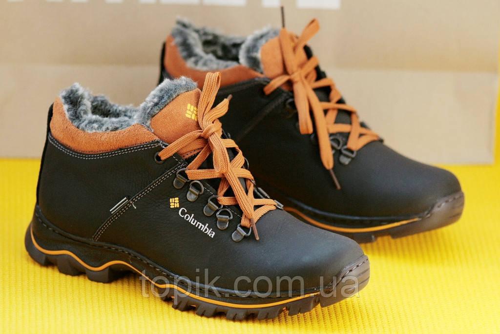 Ботинки спортивные полуботинки зимние кожа      мужские черные (Код: 159)