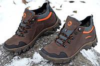 Ботинки кроссовки зимние кожа натуральный мех Merrell Мерел реплика мужские коричневые (Код: 271)