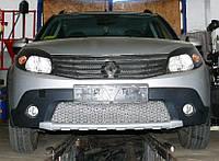 Декоративно-защитная сетка радиатора Renault Sandero Stepway фальшрадиаторная решетка, бампер, фото 1