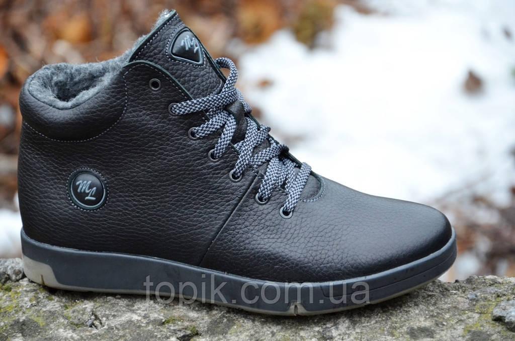 Ботинки кроссовки зимние кожа подошва полиуретан полуботинки Олимп мужские черные (Код: 282а)