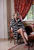 Шуба из натуральной шиншиллы  Chinchilla fur coat  over coat