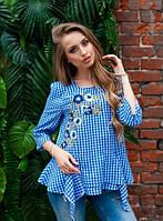 Блуза в клетку с вышивкой