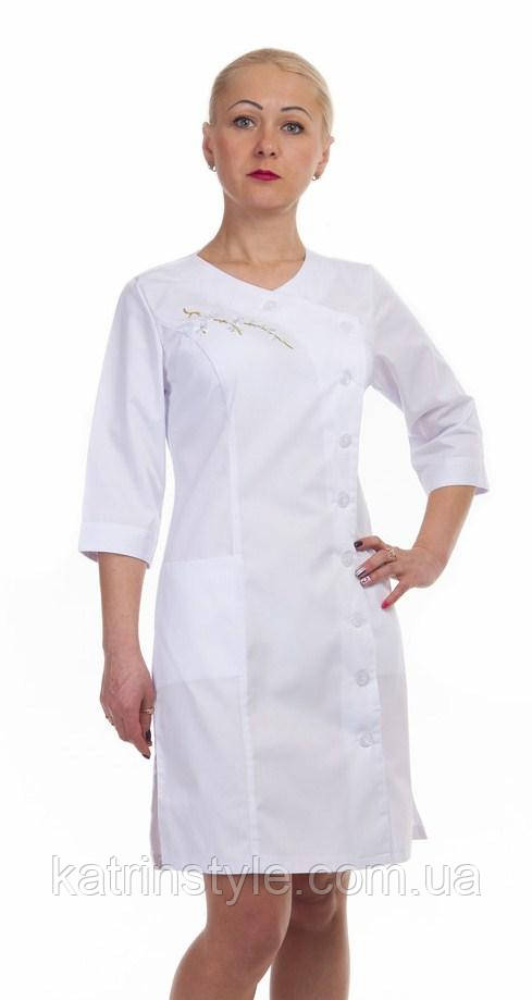 88de493f5f5 Женский медицинский халат с вышивкой «Сакура»  продажа