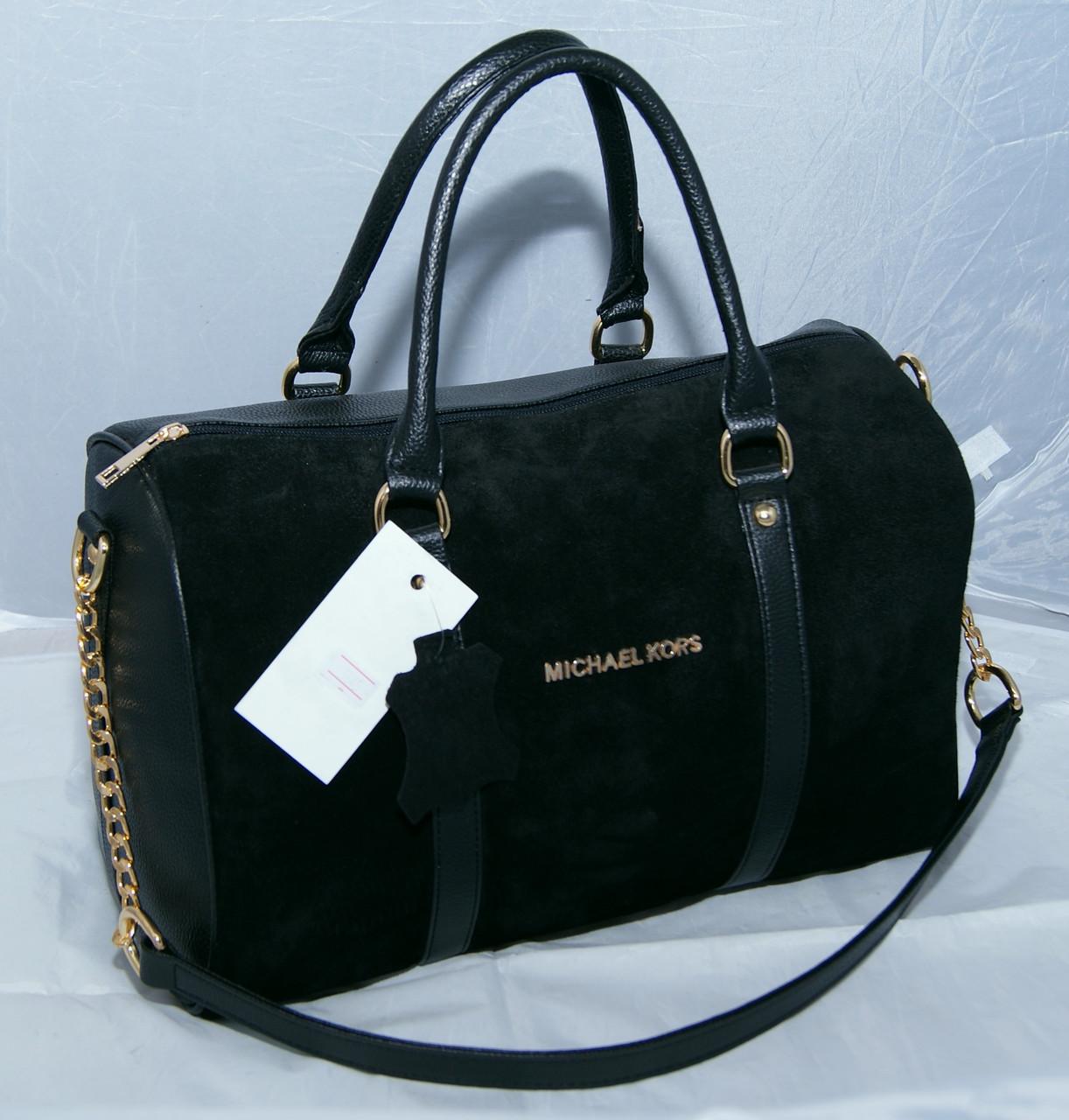 8fc1165d24e3 Женская замшевая сумка саквояж Michael Kors, черная Майкл Корс MK ...