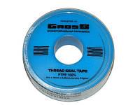Фум-лента GROSS (вода) 15m x 19mm x 0,25mm x 0.30g/cm3 (white tape)