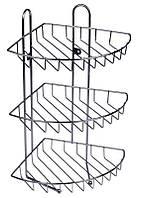Полочка-сетка угловая тройная Arino 23х23х44см