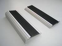 Антискользящая прямая накладка на ступени (алюминий + резина)