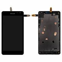 Дисплей (экран) для Microsoft (Nokia) 535 CT2C1607FPC-A1-E + с сенсором (тачскрином) и рамкой черный Оригинал