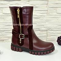 Ботинки бордовые подростковые, для девочек, на утолщённой подошве. 32 размер