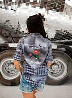 Рубашка в клеточку с вышивкой на спине