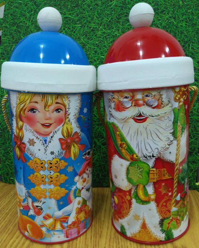 Новогодняя упаковка для конфет и подарков Дед мороз и снегурочка