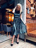 Бархатное платье с плиссированной юбкой длина ниже колен