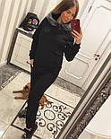 "Женский теплый костюм с мехом ""Phillip Plein"" трикотаж на меху: толстовка и брюки (2 цвета), фото 6"