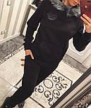 "Женский теплый костюм с мехом ""Phillip Plein"" трикотаж на меху: толстовка и брюки (2 цвета), фото 7"