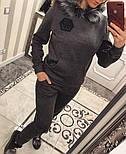 "Женский теплый костюм с мехом ""Phillip Plein"" трикотаж на меху: толстовка и брюки (2 цвета), фото 2"
