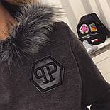 "Женский теплый костюм с мехом ""Phillip Plein"" трикотаж на меху: толстовка и брюки (2 цвета), фото 3"