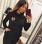 Женский теплый костюм с мехом трикотаж на меху: толстовка и брюки (2 цвета), фото 5