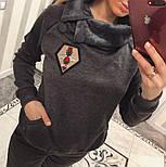 Женский теплый костюм с мехом трикотаж на меху: толстовка и брюки (2 цвета), фото 2
