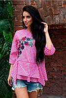 Блузка в клеточку с вышивкой