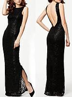 Длинное вечернее кружевное платье с пайетками DL-6254