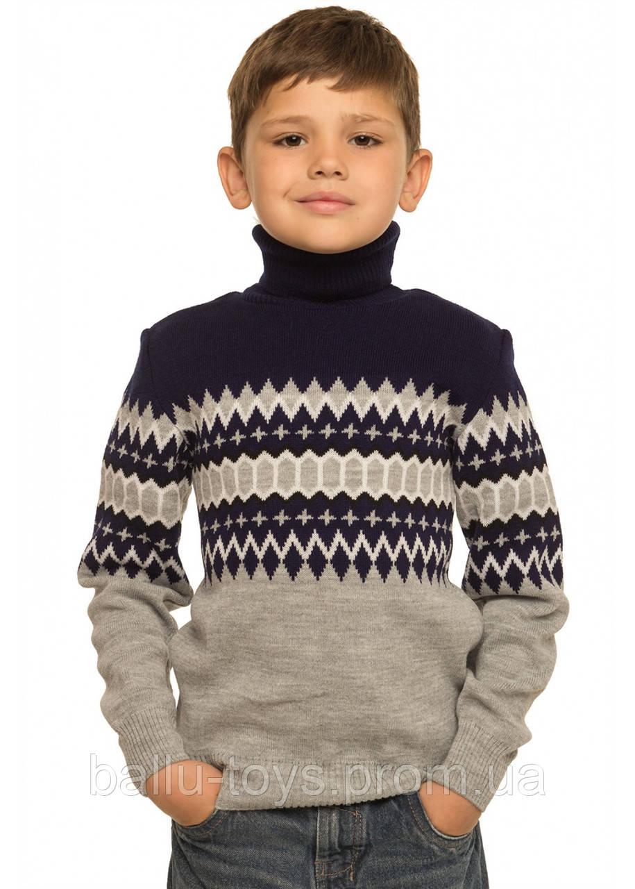 свитер на мальчика вязаный под горло геометрия 8 15 лет продажа