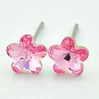Серьги с кристаллами Swarovski 95385 размер 6*6мм, насыщенный блеск камня, цвет розовый, позолота Белое Золото, фото 1