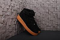 Мужские зимние высокие кроссовки Nike Air Force Найк Аир Форс с мехом черные
