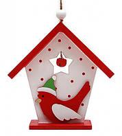 Новогоднее украшение домик с птичкой красный