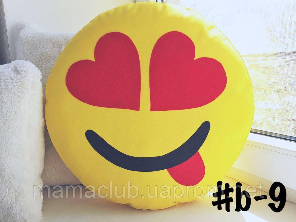 Большая подушка-смайлик Emoji #b-9 Влюбленный озорник Smile