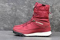 Жіночі зимові чоботи - дутіки Adidas Terrex (3536) бордові aa01b489307a3